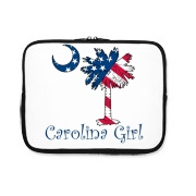 Buy a U.S. Flag Carolina Girl iPad Sleeve featuring the American flag in the background of the South Carolina palmetto moon logo.