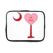 A Candy Heart Palmetto Moon iPad Sleeve with Be Mine! Perfect for Valentine's Day, it features a pink candy heart on the South Carolina Palmetto Moon with Be Mine.