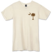 Buy a Chocolate Brown Palmetto Moon Alternative Apparel Destroyed T-Shirt featuring a smaller palmetto printed on the left chest area. The palmetto moon is a symbol of South Carolina pride.