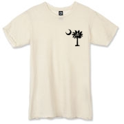 Buy a Calico Jack Pirate Palmetto Moon Alternative Apparel Destroyed T-Shirt featuring a smaller palmetto printed on the left chest area with a Calico Jack pirate flag background. The palmetto moon is a symbol of South Carolina pride.