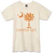 Buy an Orange Polka Dots Carolina Girl Alternative Apparel Destroyed T-Shirt featuring the South Carolina palmetto moon logo.