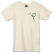 Buy a White Clover Pattern Palmetto Moon Alternative Apparel Destroyed T-Shirt featuring a palmetto moon with a white and green clover pattern, printed in the left chest area, perfect for St. Patrick's Day. The palmetto moon is a symbol of South Carolina