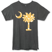 Buy a Yellow Polka Dot Palmetto Moon Alternative Apparel Destroyed T-Shirt that features a yellow palmetto moon with white polka dots.