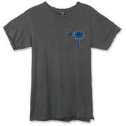 Buy a Blue Carolina Girl Deluxe Alternative Apparel Destroyed T-Shirt. This two-sided design features a small palmetto moon printed on the front left chest area and matching Carolina Girl palmetto design on the back. The palmetto moon is a symbol of South