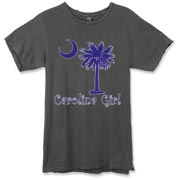 Buy a Purple Carolina Girl Alternative Apparel Destroyed T-Shirt featuring the South Carolina palmetto moon logo.