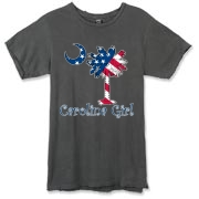 Buy a U.S. Flag Carolina Girl Alternative Apparel Destroyed T-Shirt featuring the American flag in the background of the South Carolina palmetto moon logo.