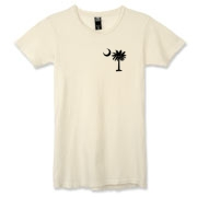 Buy a Black Palmetto Moon Alternative Apparel Women's Destroyed T-Shirt featuring a smaller palmetto printed on the left chest area. The palmetto moon is a symbol of South Carolina pride.