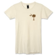 Buy a Chocolate Brown Palmetto Moon Alternative Apparel Women's Destroyed T-Shirt featuring a smaller palmetto printed on the left chest area. The palmetto moon is a symbol of South Carolina pride.