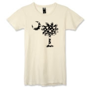 Buy a Black Polka Dot Palmetto Moon Alternative Apparel Women's Destroyed T-Shirt that features a black palmetto moon with white polka dots.