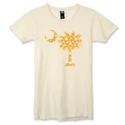 Buy a Yellow Polka Dot Palmetto Moon Alternative Apparel Women's Destroyed T-Shirt that features a yellow palmetto moon with white polka dots.