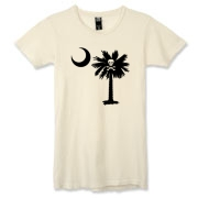 Buy a Jolly Roger Pirate Palmetto Moon Alternative Apparel Women's Destroyed T-Shirt featuring a palmetto with a Jolly Roger pirate flag background. The palmetto moon is a symbol of South Carolina pride.