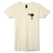 Buy a Jolly Roger Pirate Palmetto Moon Alternative Apparel Women's Destroyed T-Shirt featuring a smaller palmetto printed on the left chest area with a Jolly Roger pirate flag background. The palmetto moon is a symbol of South Carolina pride.