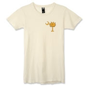 Buy a Yellow Smiley Palmetto Moon Alternative Apparel Women's Destroyed T-Shirt featuring a smaller palmetto printed on the left chest area. The palmetto moon is a symbol of South Carolina pride.