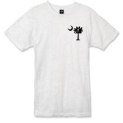 Buy a Jolly Roger Pirate Palmetto Moon Alternative Apparel Burnout T-Shirt 		 featuring a smaller palmetto printed on the left chest area with a Jolly Roger pirate flag background. The palmetto moon is a symbol of South Carolina pride.
