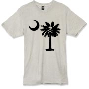 Buy a Jolly Roger Pirate Palmetto Moon Alternative Apparel Burnout T-Shirt 		 featuring a palmetto with a Jolly Roger pirate flag background. The palmetto moon is a symbol of South Carolina pride.