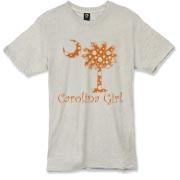 Buy an Orange Polka Dots Carolina Girl Alternative Apparel Burnout T-Shirt 		 featuring the South Carolina palmetto moon logo.
