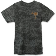 Buy a Chocolate Brown Palmetto Moon Alternative Apparel Burnout T-Shirt 		 featuring a smaller palmetto printed on the left chest area. The palmetto moon is a symbol of South Carolina pride.