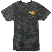 Buy a Yellow Smiley Palmetto Moon Alternative Apparel Burnout T-Shirt 		 featuring a smaller palmetto printed on the left chest area. The palmetto moon is a symbol of South Carolina pride.