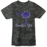 Buy a Purple Carolina Girl Alternative Apparel Burnout T-Shirt 		 featuring the South Carolina palmetto moon logo.