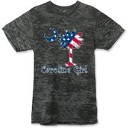 Buy a U.S. Flag Carolina Girl Alternative Apparel Burnout T-Shirt 		 featuring the American flag in the background of the South Carolina palmetto moon logo.