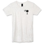 Buy a Black Palmetto Moon Alternative Apparel Women's Burnout T-Shirt featuring a smaller palmetto printed on the left chest area. The palmetto moon is a symbol of South Carolina pride.