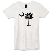 Buy a Jolly Roger Pirate Palmetto Moon Alternative Apparel Women's Burnout T-Shirt featuring a palmetto with a Jolly Roger pirate flag background. The palmetto moon is a symbol of South Carolina pride.