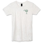 Buy a White Clover Pattern Palmetto Moon Alternative Apparel Women's Burnout T-Shirt featuring a palmetto moon with a white and green clover pattern, printed in the left chest area, perfect for St. Patrick's Day. The palmetto moon is a symbol of South Car