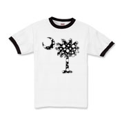 Black Polka Dot Palmetto Moon Kids Ringer T-Shirt features a black palmetto moon with white polka dots. Buy this fun variation on the South Carolina palmetto moon flag today!