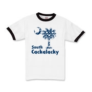 Blue Polka Dots South Cackalacky Palmetto Moon Kids Ringer T-Shirt features a Polka Dot South Carolina palmetto moon logo in blue.