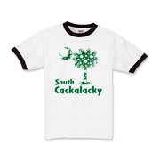 Green Polka Dots South Cackalacky Palmetto Moon Kids Ringer T-Shirt features a Polka Dot South Carolina palmetto moon logo in green.