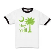 Say hello with the Lime Green Hey Y'all Palmetto Moon Kids Ringer T-Shirt. It features the South Carolina palmetto moon.