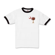 The basketball palmetto moon features the South Carolina palmetto with a basketball and hardwood floor theme positioned in the pocket area of a Kids Ringer T-Shirt.