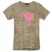 Buy a Pink Palmetto Moon Alternative Apparel Women's Burnout T-Shirt. The palmetto moon is a symbol of South Carolina pride.
