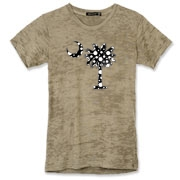 Buy a Black Polka Dot Palmetto Moon Alternative Apparel Women's Burnout T-Shirt that features a black palmetto moon with white polka dots.