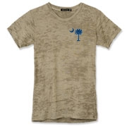 Buy a Blue Carolina Girl Deluxe Alternative Apparel Women's Burnout T-Shirt. This two-sided design features a small palmetto moon printed on the front left chest area and matching Carolina Girl palmetto design on the back. The palmetto moon is a symbol of