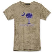 Buy a Purple Carolina Girl Alternative Apparel Women's Burnout T-Shirt featuring the South Carolina palmetto moon logo.