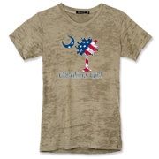 Buy a U.S. Flag Carolina Girl Alternative Apparel Women's Burnout T-Shirt featuring the American flag in the background of the South Carolina palmetto moon logo.