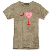 A Candy Heart Palmetto Moon Alternative Apparel Women's Burnout T-Shirt with Be Mine! Perfect for Valentine's Day, it features a pink candy heart on the South Carolina Palmetto Moon with Be Mine.