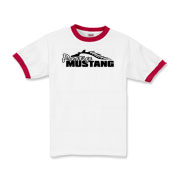 Sharp Kids Ringer T-Shirt features our popular Prestige Mustang Bold Logo design on the front