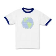 Globe made entirely out of tiny peace signs, on t-shirts and more for men, women and children.  Bulk discounting available, see our pricing charts.