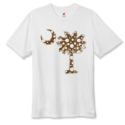 Buy a Chocolate Brown Polka Dot Palmetto Moon Hanes Cool Dri T-shirt that features a brown palmetto moon with white polka dots.