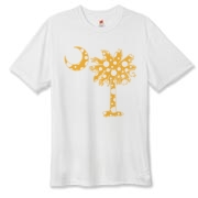 Buy a Yellow Polka Dot Palmetto Moon Hanes Cool Dri T-shirt that features a yellow palmetto moon with white polka dots.