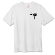 Buy a Calico Jack Pirate Palmetto Moon Hanes Cool Dri T-shirt featuring a smaller palmetto printed on the left chest area with a Calico Jack pirate flag background. The palmetto moon is a symbol of South Carolina pride.