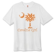 Buy an Orange Polka Dots Carolina Girl Hanes Cool Dri T-shirt featuring the South Carolina palmetto moon logo.