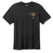 Buy a Chocolate Brown Palmetto Moon Hanes Cool Dri T-shirt featuring a smaller palmetto printed on the left chest area. The palmetto moon is a symbol of South Carolina pride.