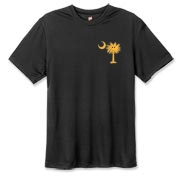 Buy a Yellow Smiley Palmetto Moon Hanes Cool Dri T-shirt featuring a smaller palmetto printed on the left chest area. The palmetto moon is a symbol of South Carolina pride.
