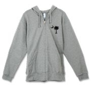 Buy a Black Palmetto Moon Canvas Freemont Full-Zip Hoodie featuring a smaller palmetto printed on the left chest area. The palmetto moon is a symbol of South Carolina pride.
