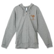 Buy an Orange Polka Dots Carolina Girl Canvas Freemont Full-Zip Hoodie featuring the South Carolina palmetto moon logo.