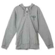 Buy a White Clover Pattern Palmetto Moon Canvas Freemont Full-Zip Hoodie featuring a palmetto moon with a white and green clover pattern, printed in the left chest area, perfect for St. Patrick's Day. The palmetto moon is a symbol of South Carolina pride.