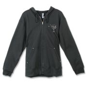 Buy a Black Polka Dot Palmetto Moon Canvas Freemont Full-Zip Hoodie that features a black palmetto moon with white polka dots printed smaller on the left chest area.